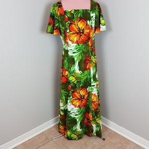 VINTAGE 60s BARCLOTH OP ART HAWAIIAN MAXI DRESS